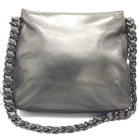 PRADA black Italian leather shoulder bag #113